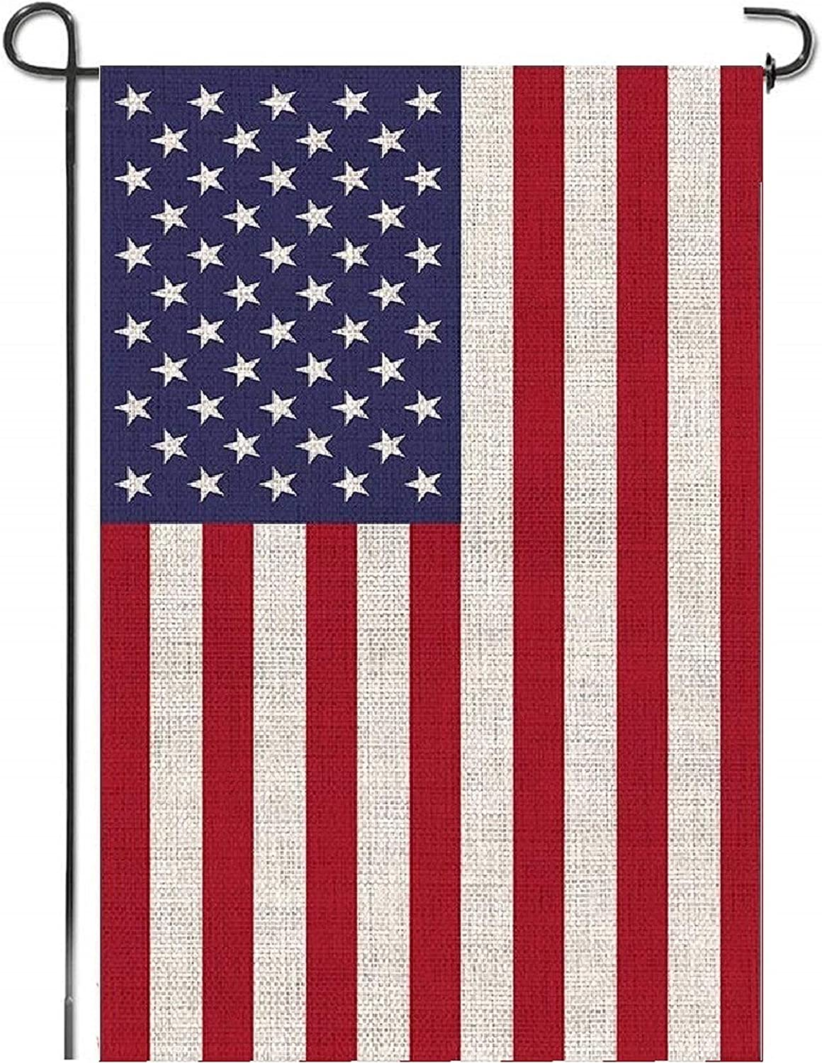 "Mogarden American Garden Flag, Double Sided, 12.5"" x 18"", Top-Level Thick Burlap USA Yard Flag"