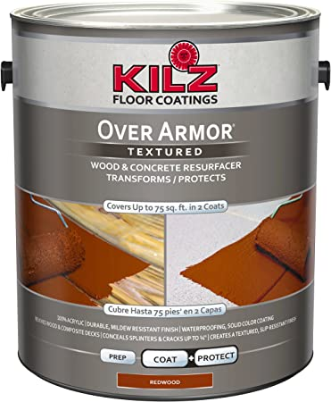 Kilz Over Armor Textured Wood Concrete Coating 1 Gallon Redwood