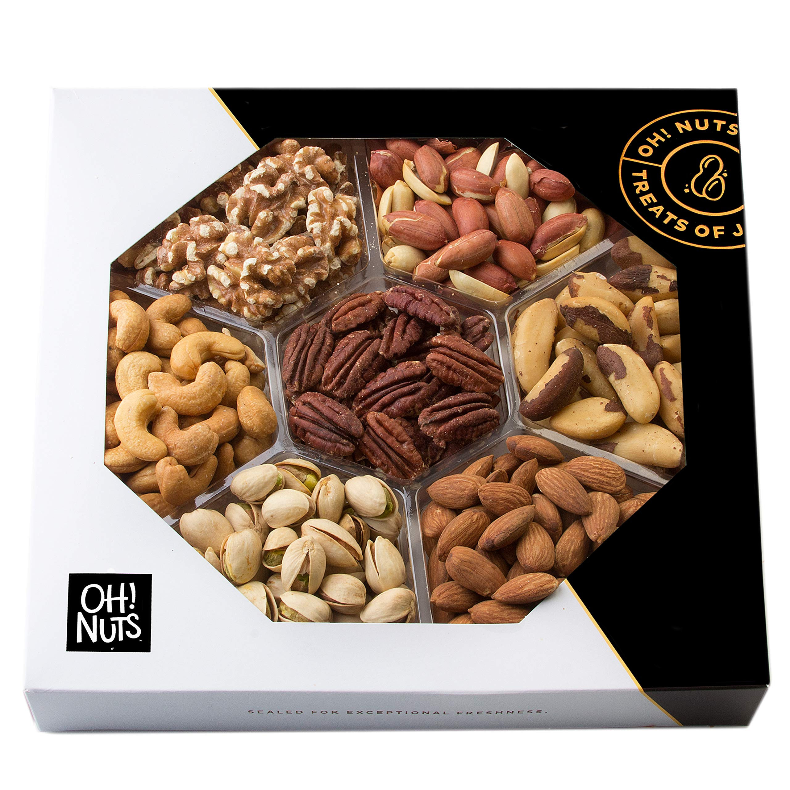 Oh! Nuts Healthy Dry Roasted Salted Nut Gift Basket, Natural 7 Variety Snacks Gourmet Food Gift Tray, Vegan Vegetarian Christmas Holiday Thanksgiving Prime Gifts for Men & Women, Get Well, Sympathy