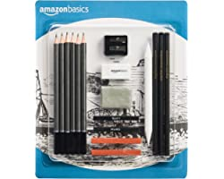 Amazon Basics Sketch and Drawing Art Pencil Kit - 17-Piece Set