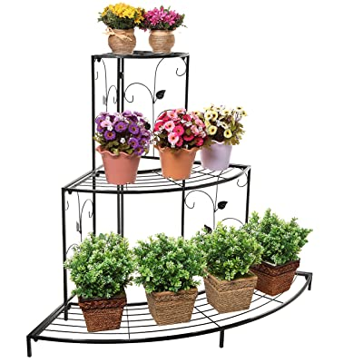 Black Floral Design Metal Step Style 3 Tier Corner Shelf Flower Pots, Planters Display Stand/Shoe Rack : Garden & Outdoor