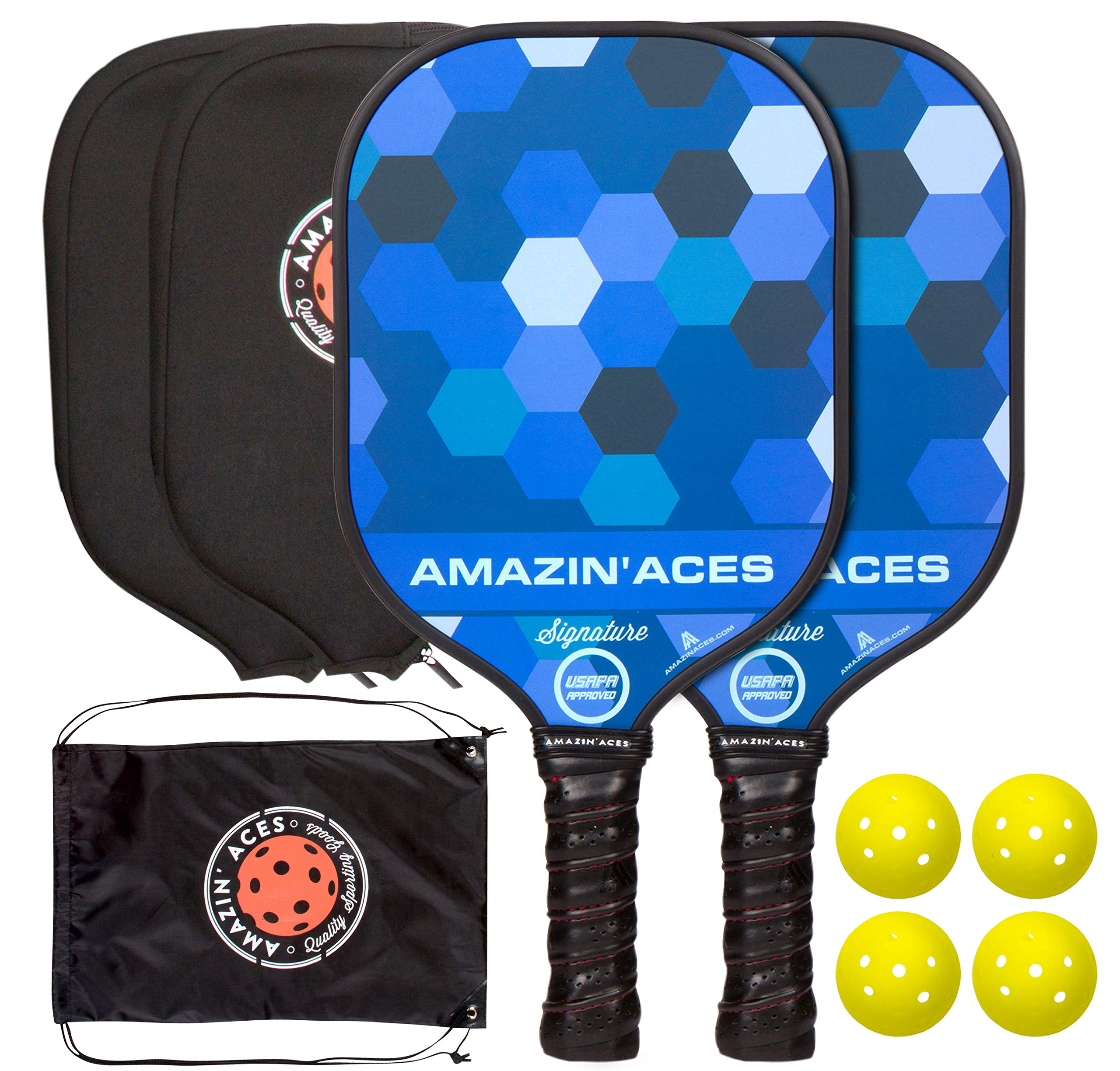 Amazin' Aces Signature Pickleball Paddle | USAPA Approved | Graphite Face & Polymer Core | Premium Grip | Paddles Available as Single or Set | Set Includes Balls & Bag | Includes Racket Case & eBook
