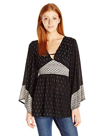 27b344f485b0 Amazon.com: Angie Women's V-Neck Bell Sleeve Top: Clothing