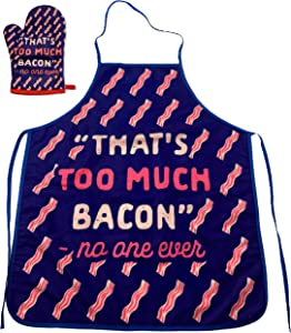 Crazy Dog T-Shirts That's Too Much Bacon Sand No One Ever Funny Cooking Breakfast Kitchen Accessories (Oven Mitt + Apron)