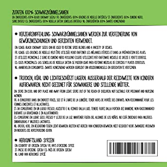 Comino negro entero (500g), semillas de comino negro 100% natural, especia natural sin aditivos, vegano
