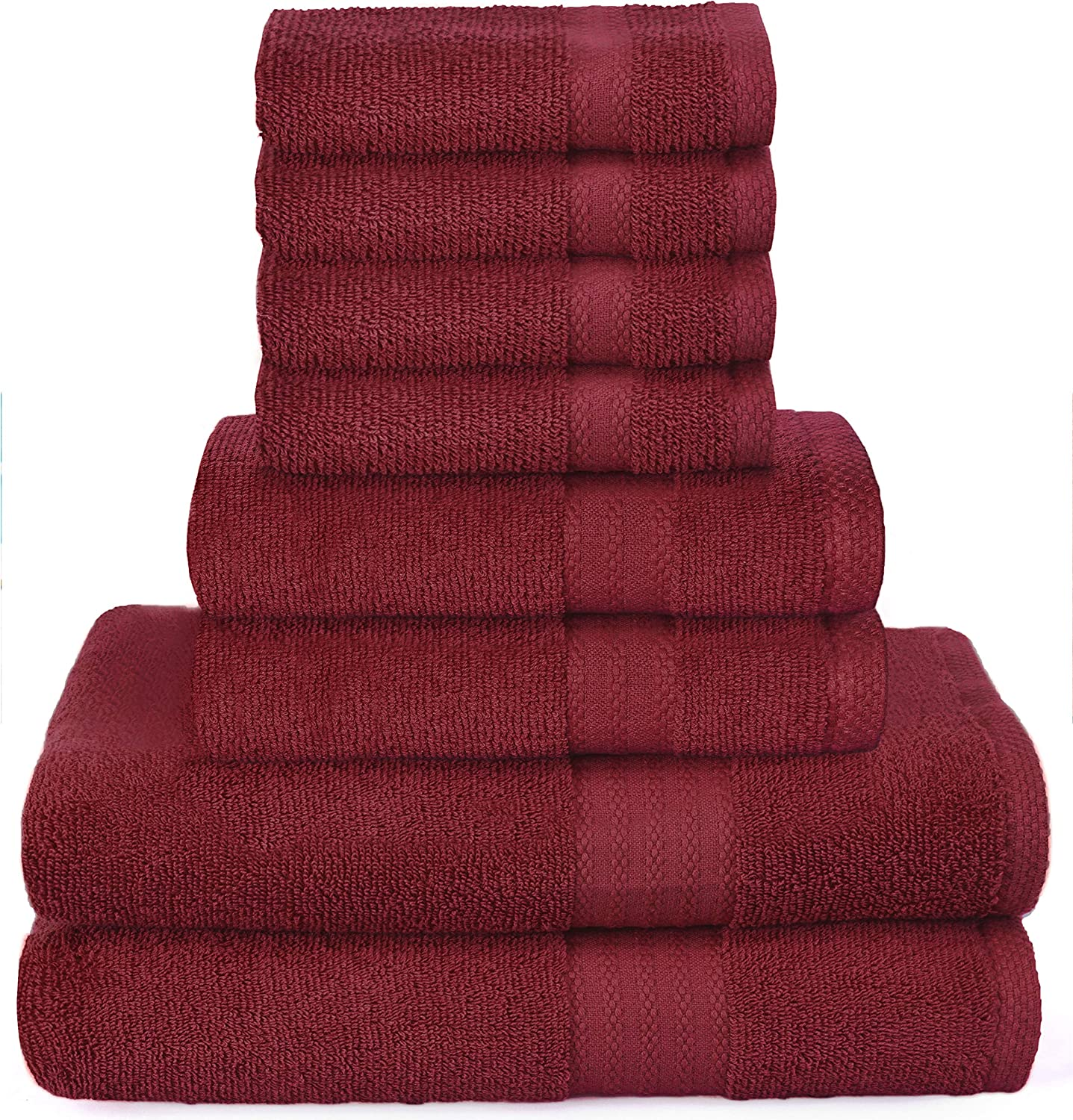 Glamburg Ultra Soft 8-Piece Towel Set - 100% Pure Ringspun Cotton, Contains 2 Oversized Bath Towels 27x54, 2 Hand Towels 16x28, 4 Wash Cloths 13x13 - Ideal for Everyday use, Hotel & Spa - Burgundy