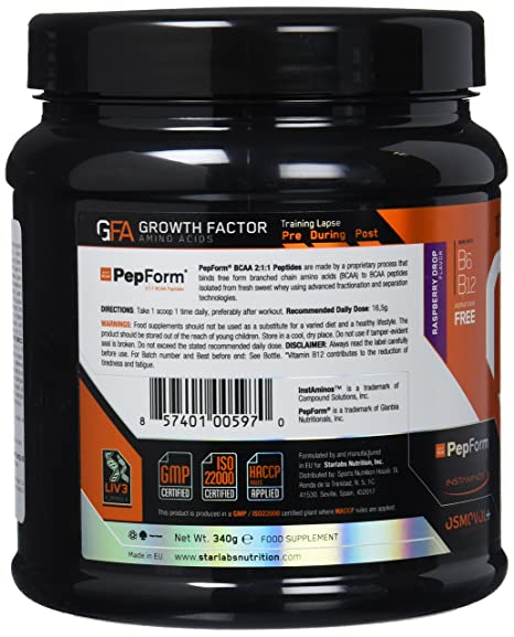 Starlabs Nutrition GFA Growth Factor Raspberry Drop - 340 gr: Amazon.es: Salud y cuidado personal
