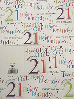 Birthday Age 21 21st Twenty One Celebrate Wrapping Paper 2 Sheets 1 Gift Tag