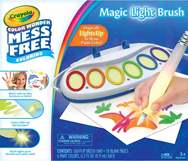 Crayola Color Wonder Magic Light Brush drawing and painting toy for kids in package