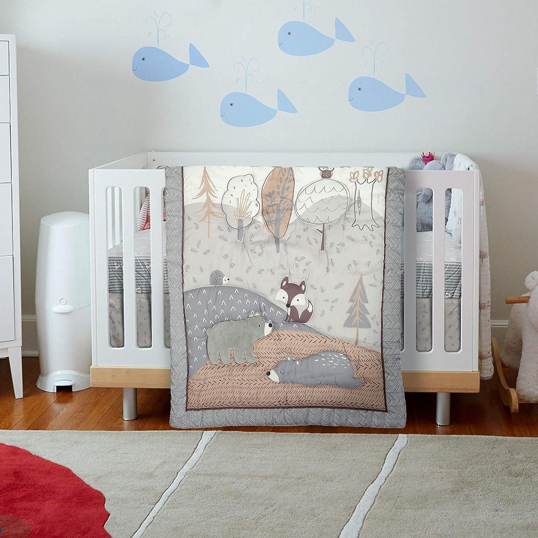 Malak Baby Crib Bedding Set 3 Pieces Grey Bear/Owl Jungle Animals Crib Bedding for Boys & Girls