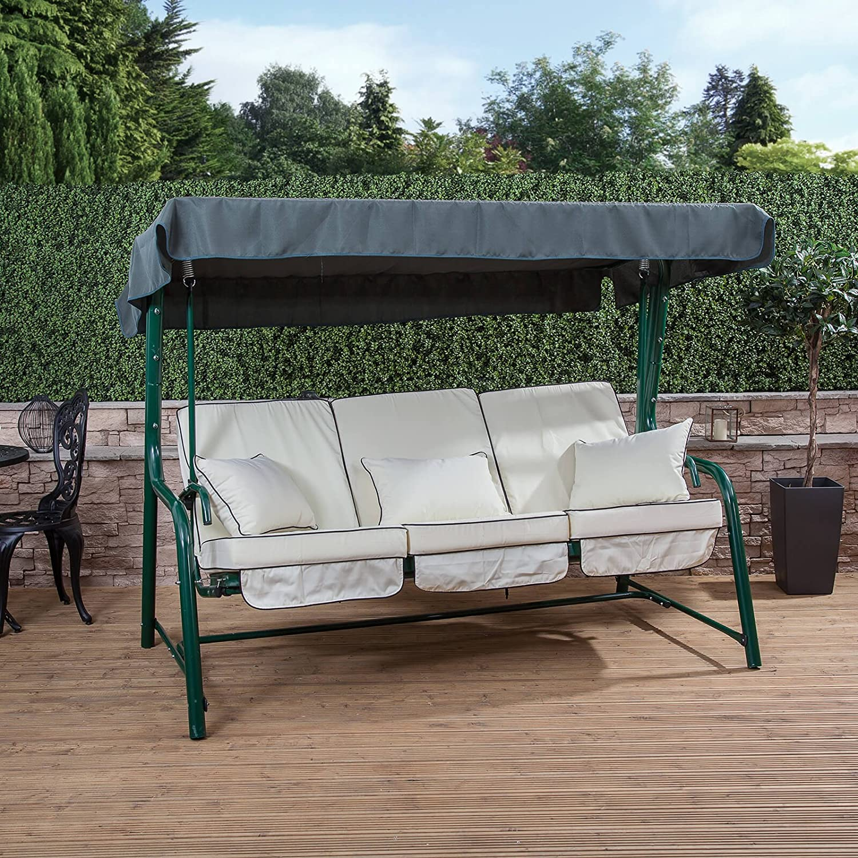 Alfresia Turin 3 Seater Reclining Swing Seat Green Frame Cream Cushions