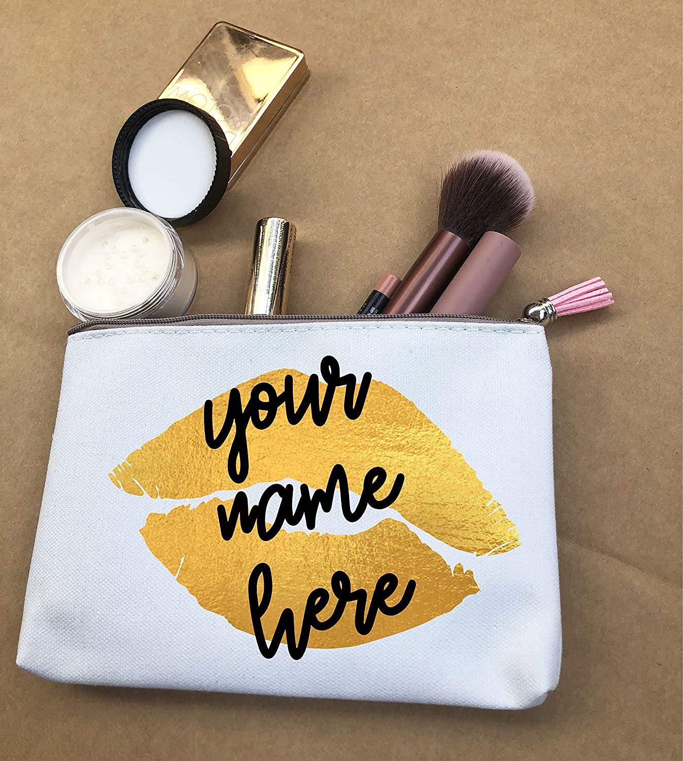 Makeup Bag Custom Name Gift Lipstick Mascara Canvas Zipper