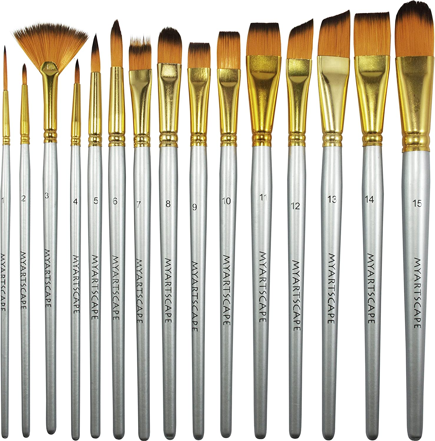 MyArtscape Paint Brush - Set of 15 Art Brushes for Watercolor, Acrylic & Oil Painting - Short Handles