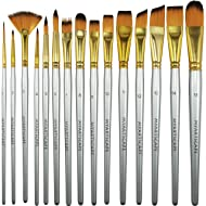 Paint Brush - Set of 15 Art Brushes for Watercolor, Acrylic & Oil Painting - Short Handles