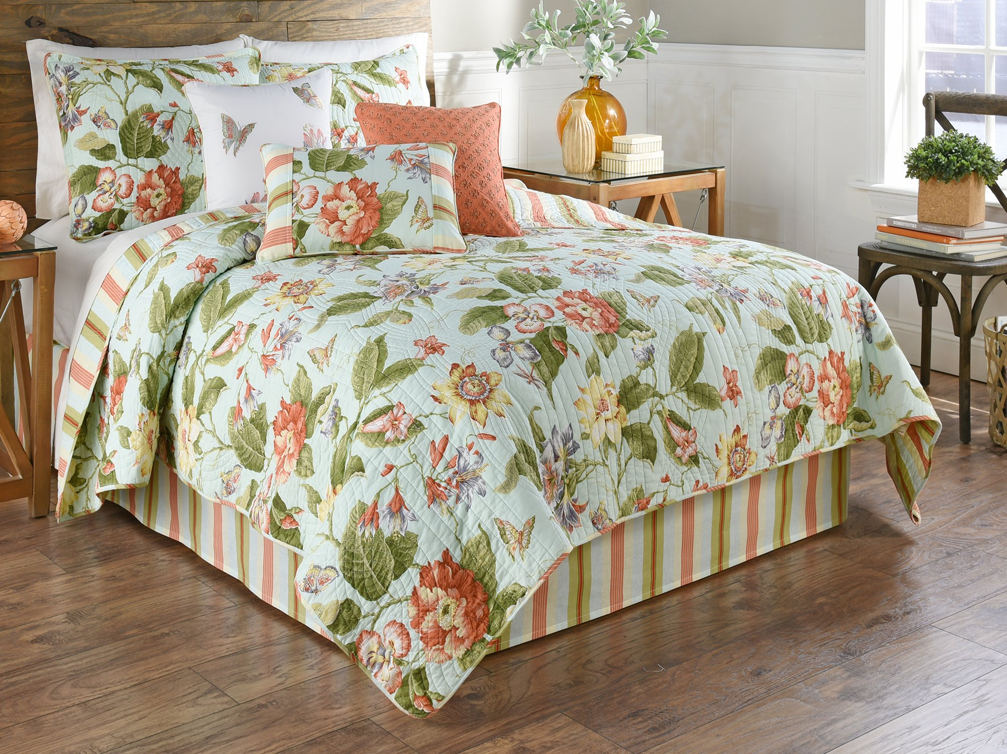 WAVERLY Laurel Springs 3-Piece Opal Reversible Quilt Collection, Twin,