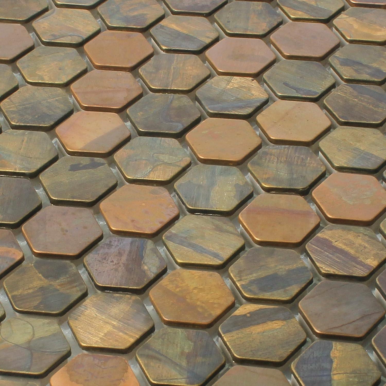 Mosaikfliesen Kupfer Merkur Sechseck Braun 24 Wandfliesen Mosaik