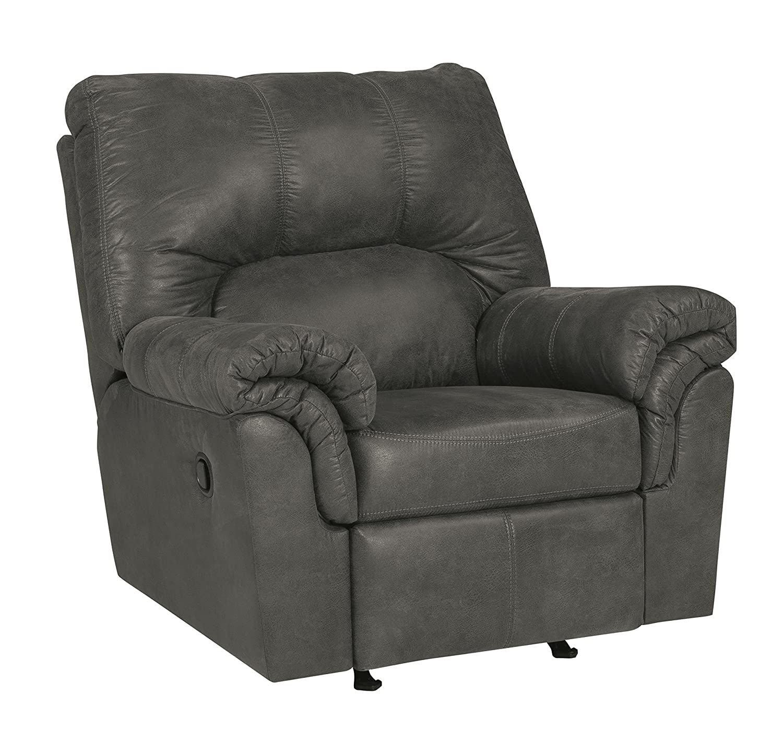Ashley Furniture Signature Design - Bladen Contemporary Plush Upholstered Rocker Recliner - Pull Tab Reclining - Slate Gray