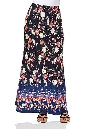 e1861f919 Roman Originals Women's Floral Border Long Maxi Skirt - Ladies Summer Boho  Ethnic Gypsy Skirts with Elasticated Waist Blue: Amazon.co.uk: Clothing