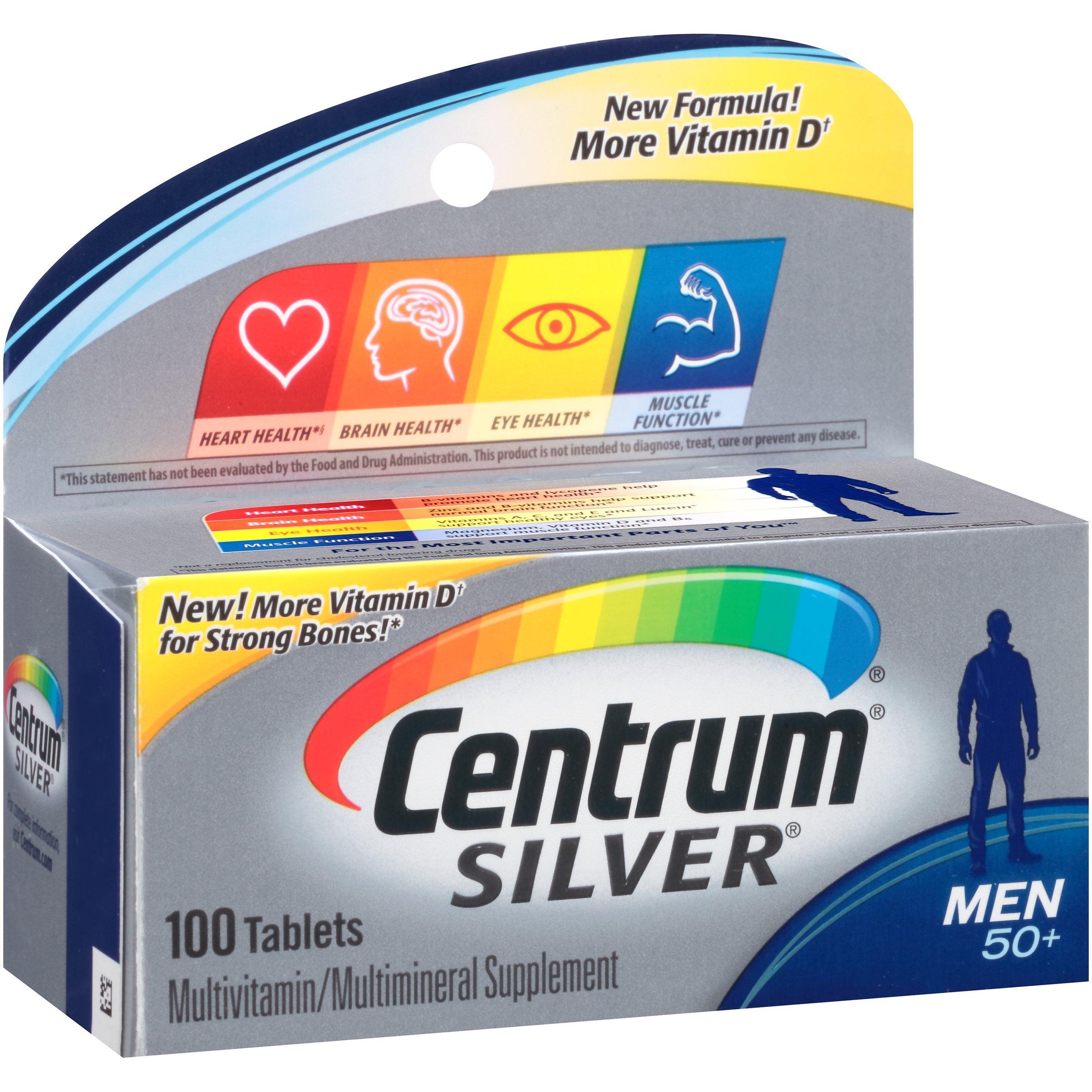 Amazon.com: Centrum Silver Men (100 Count) Multivitamin / Multimineral  Supplement Tablet, Vitamin D3, Age 50+: Health & Personal Care