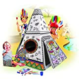 Spiritoy My Teepee Tent Cardboard Playhouse - Large Corrugated Color In Coloring Play House for Kids - 3.5 Feet Tall, Easy Assembly, Fast Fold - by