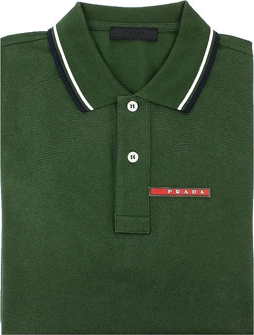 Prada - Polo - Homme Vert Vert S: Amazon.
