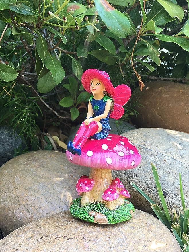 GlitZGlam Mimi Hada Miniatura con Soporte Desmontable con Forma de Seta para su Jardín de Hadas/Jardín en Miniatura: Amazon.es: Jardín