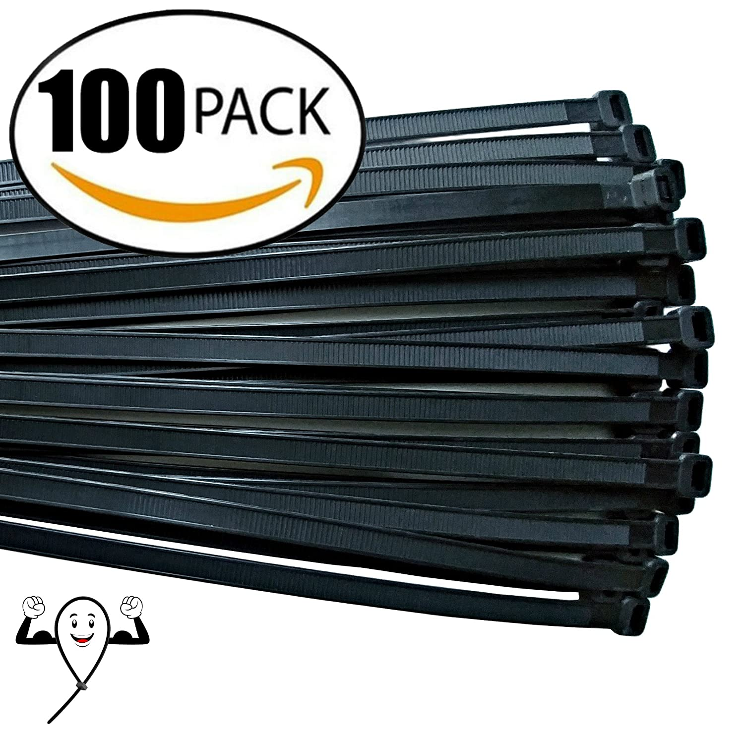 Cable ties 18 inch Thick Premium Heavy Duty. 100 Piece Value Pack of Black Nylon Wire Zip Ties by Strong Ties. 175 Pounds Tensile Strength Indoor Outdoor UV Resistant.