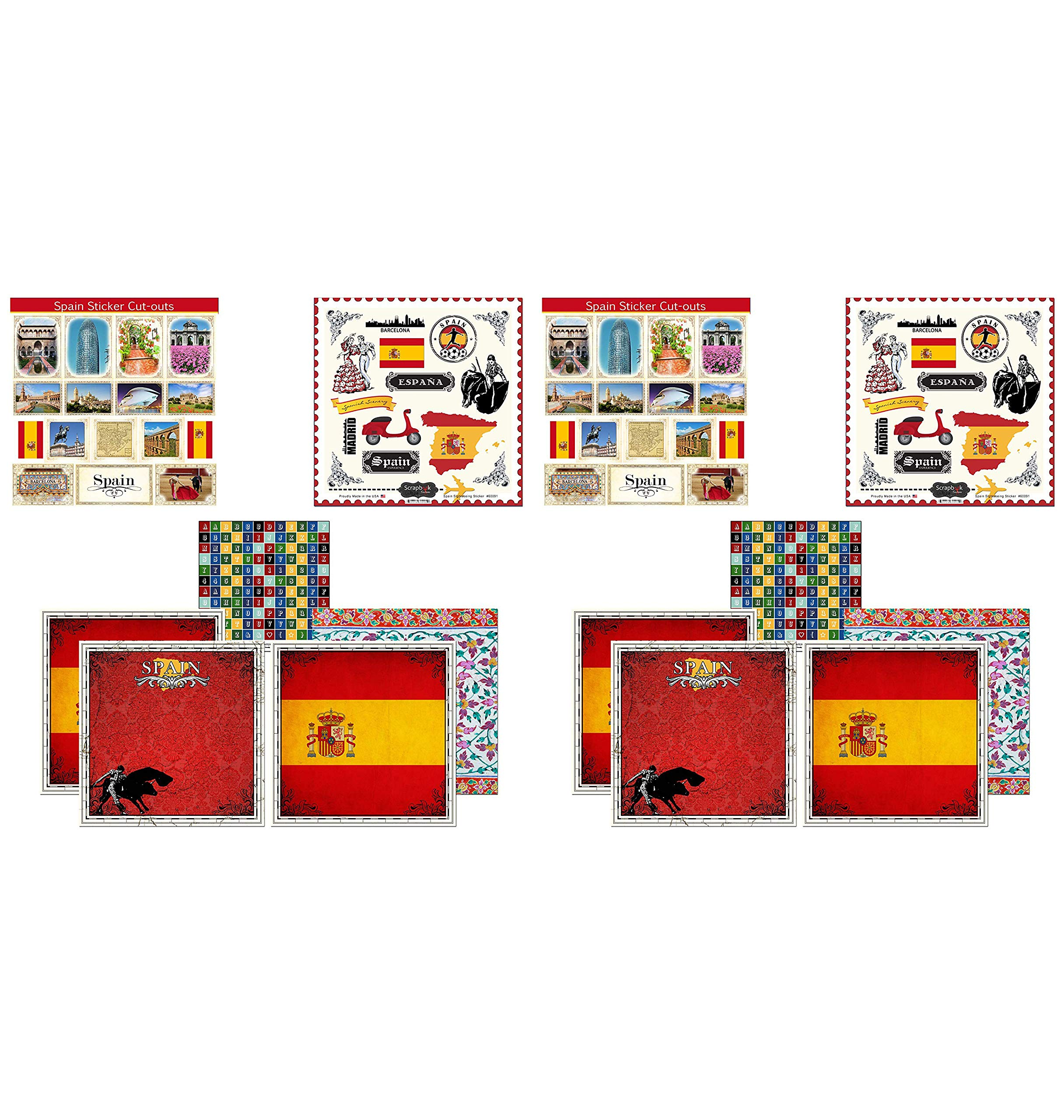 Scrapbook Customs Themed Paper and Stickers Scrapbook Kit, Spain Sightseeing (Twо Pаck)