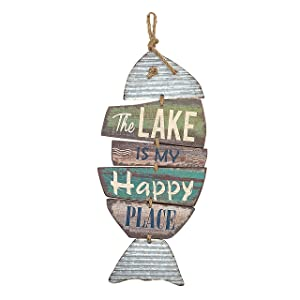 "Barnyard Designs The Lake is My Happy Place Wooden Sign Vintage Country Decor 20""x 9"""
