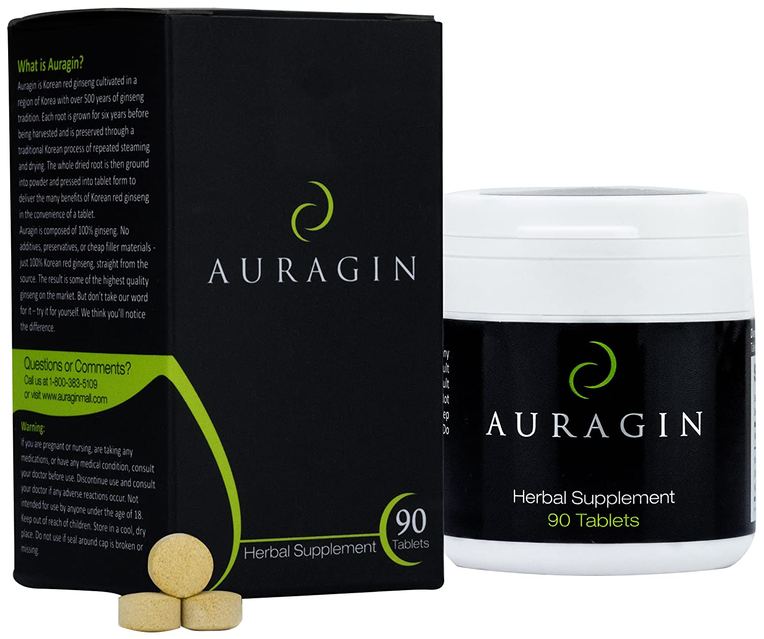 Auragin Authentic Korean Red Ginseng Made in Korea 6 Year Roots No Additives or Other Ingredients 100 Red Panax Ginseng in Every Tablet