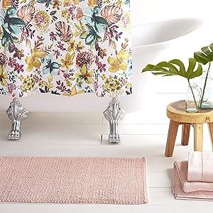 """Home Dynamix Nicole Miller Newton Reversible Cut & Loop Pebbles 2-Piece Cotton Bath Mat Set, 17""""x24""""/21""""x34"""" Blush Pink"""