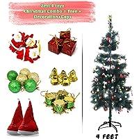 Zest 4 Toyz 4 Feet Christmas Pine Tree with 2 Santa Cap & 100 Pcs Tree Decoration Set for Christmas Home Decor (Balls, Bells, Gifts, Drums, Candy Sticks & Santa Claus)