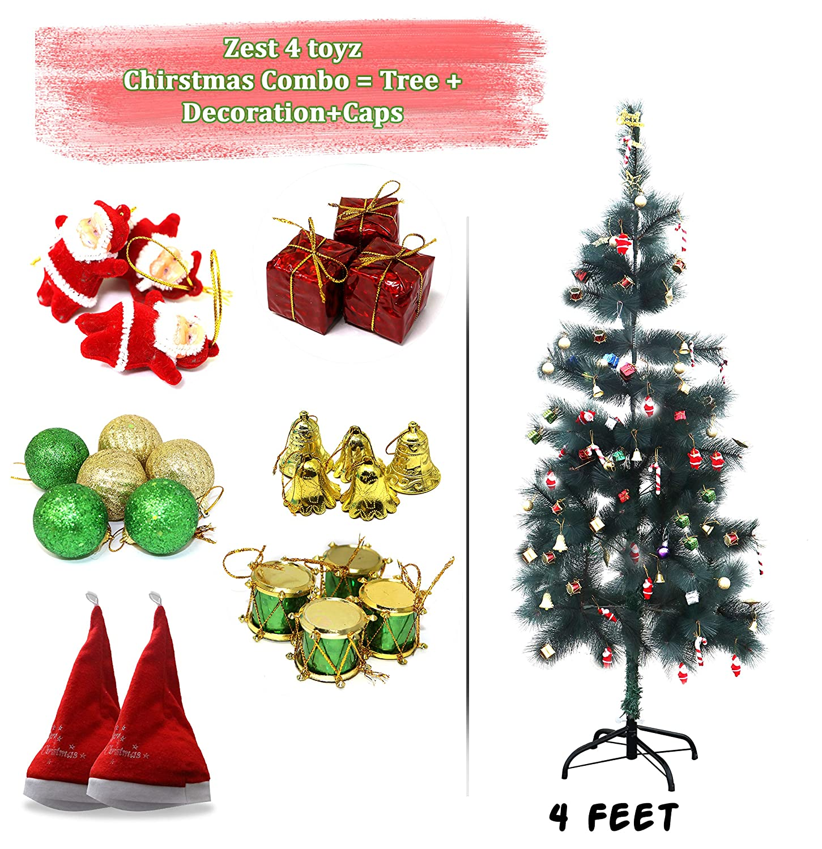 Set of 4 Christmas XMAS Santa Tree Ornaments Decorations Traditional Decor