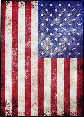 USA Vintage Flag Nylon Non-Slip Indoor Outdoor Area Rug Carpet 5-ft x 7-ft 60 x 84 Retro July 4th Independence Memorial Day Patriotic Freedom Stars for Office Home Living Dining Room Decoration