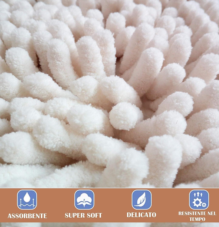 Angelsartory Tappeto Bagno Cotone 100/% 80x50 Microfibra Scendidoccia Tappetino Hotel Tappeti Lussuoso Super Morbido Lavabile Assorbente Spugnoso Tappetini Soffice Beb Delicato 50x80 Bianco