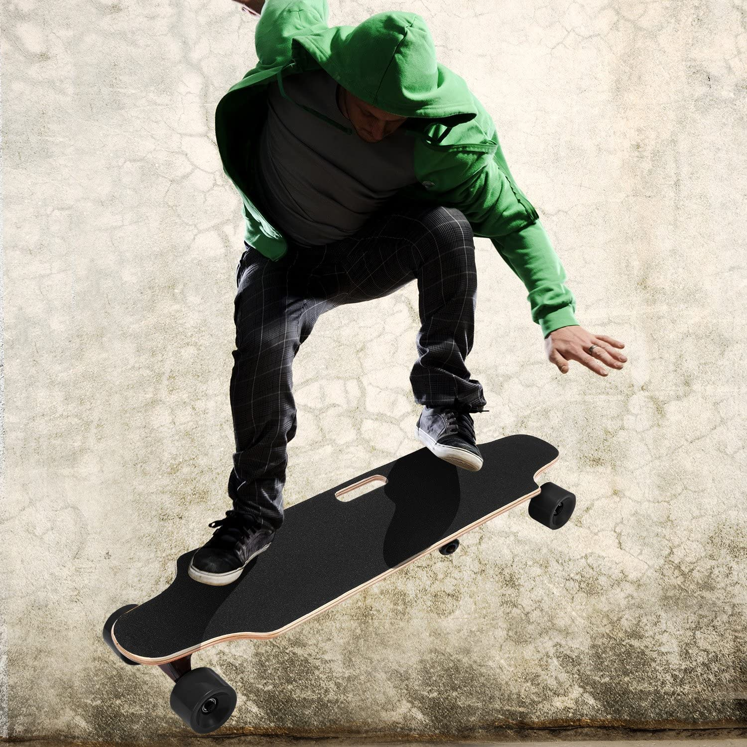 OppsDecor Electric Skateboard with Wireless Remote Control, 7 Layers Maple Longboard, 20Km h Top Speed, 10 Miles Range US Stock