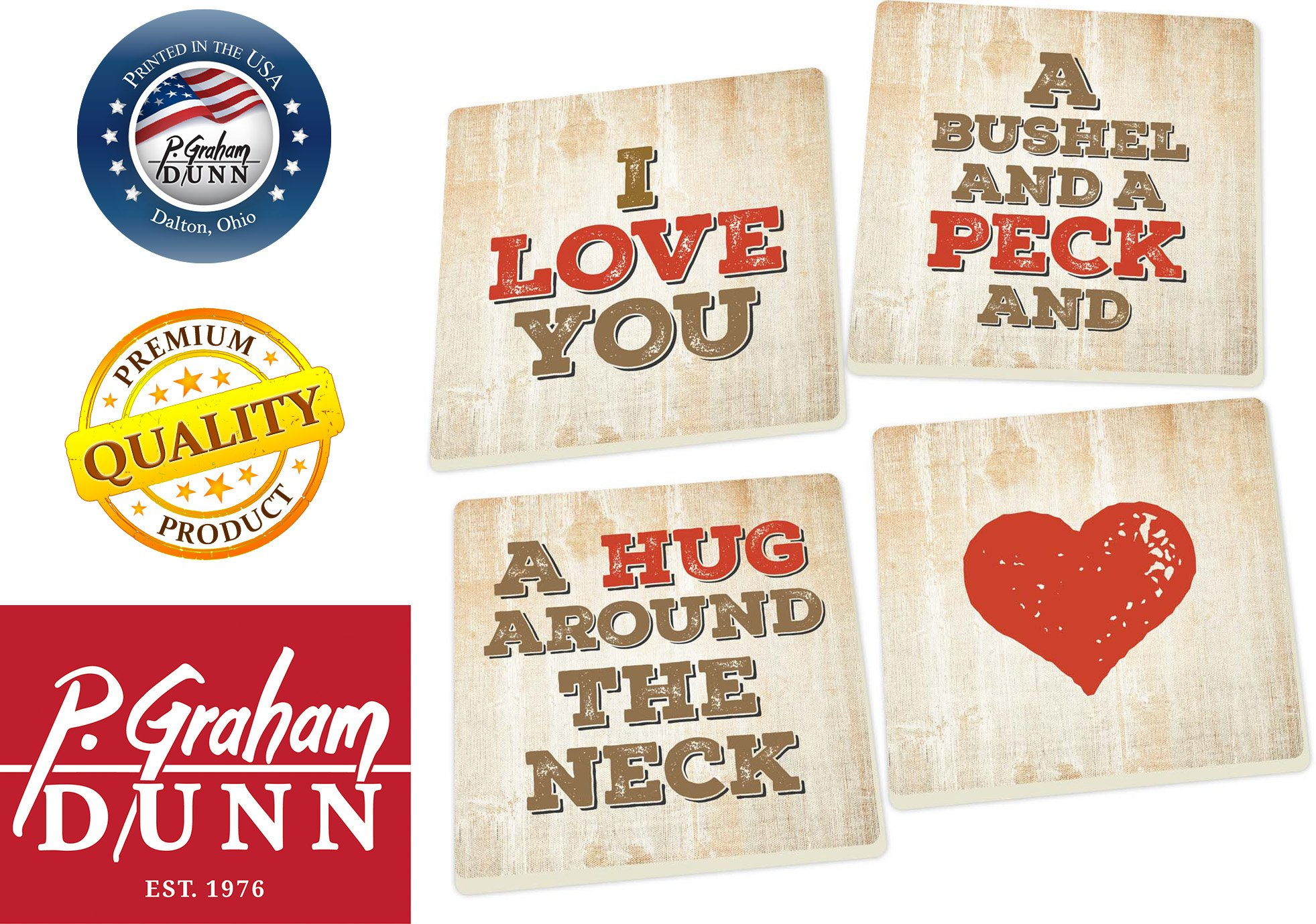 I Love You a Bushel and a Peck 5 x 5 Super Absorbent Ceramic Coasters, Set of 4 by P Graham Dunn (Image #2)