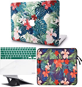 """KECC Laptop Case for MacBook Air 13"""" Retina (2020, Touch ID) w/Keyboard Cover + Sleeve + Screen Protector + Laptop Stand (5 in 1 Bundle) Plastic Hard Shell Case A2179 (Palm Leaves Red Flower)"""