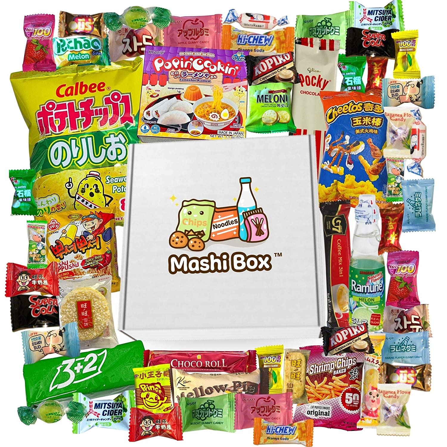 Mashi Box Deluxe Asian Dagashi Snack Box - 55 Pieces - 6 FULL SIZED ITEMS, Comes with Ramune Drink, Asian Noodles, Asian Chips, Asian Candy
