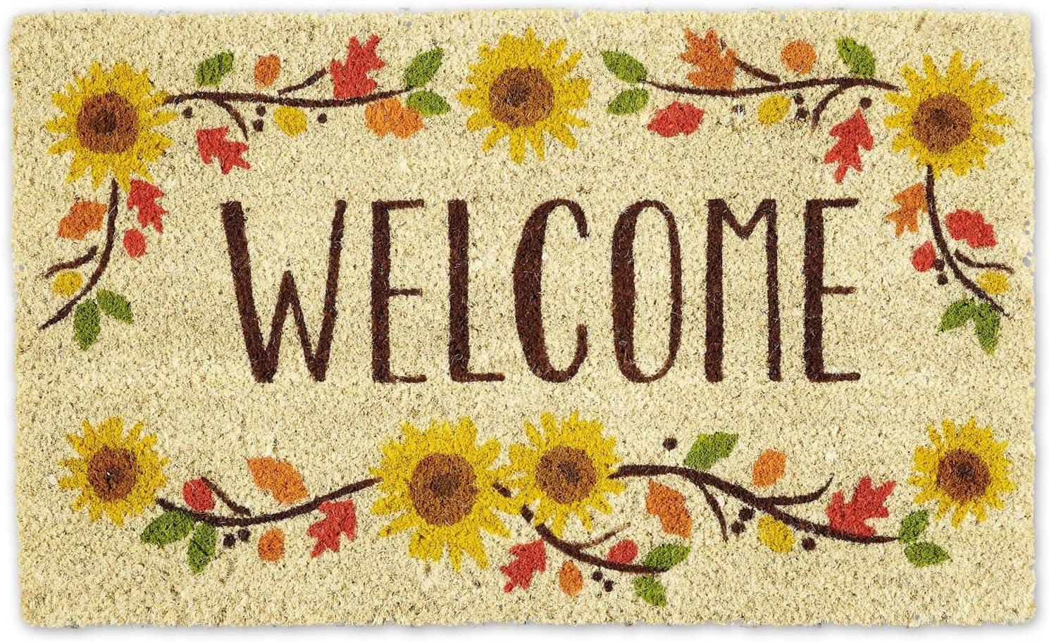 Dii Welcome Home Natural Coir Doormat Indoor Outdoor 18x30 Sunflowers Home Kitchen