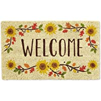 (46cm X 80cm , Sunflowers) - DII Natural Coir Fibre, 46cm x 80cm Entry Way Outdoor Door Mat with Non Slip Backing - Welcome Sunflower