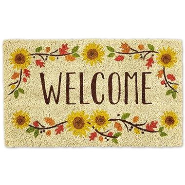 DII Indoor/Outdoor Natural Coir Easy Clean Rubber Non Slip Backing Entry Way Doormat For Patio, Front Door, All Weather Exterior Doors, 18 x 30  - Wlcome Sunflower