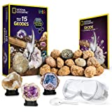 NATIONAL GEOGRAPHIC - Break Open 15 Premium Geodes – Includes Goggles, Detailed Learning Guide and 3 Display Stands…