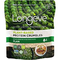 Longève Plain Plant-Based Protein Crumbles (Shelf-Stable, Gluten-Free, Vegan, Soy-Free, Keto) (6 ounces)