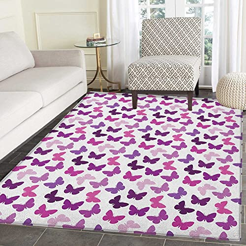 Butterfly Non Slip Rugs Abstract Retro Butterfly Silhouettes Floral Springtime Girls Theme Image Door Mats for inside Non Slip Backing 5 x6 Pink Purple Lilac