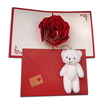 Big rose 3d pop up greetings card set with cute teddy bear and big rose 3d pop up greetings card set with cute teddy bear and beautiful pearl paper m4hsunfo
