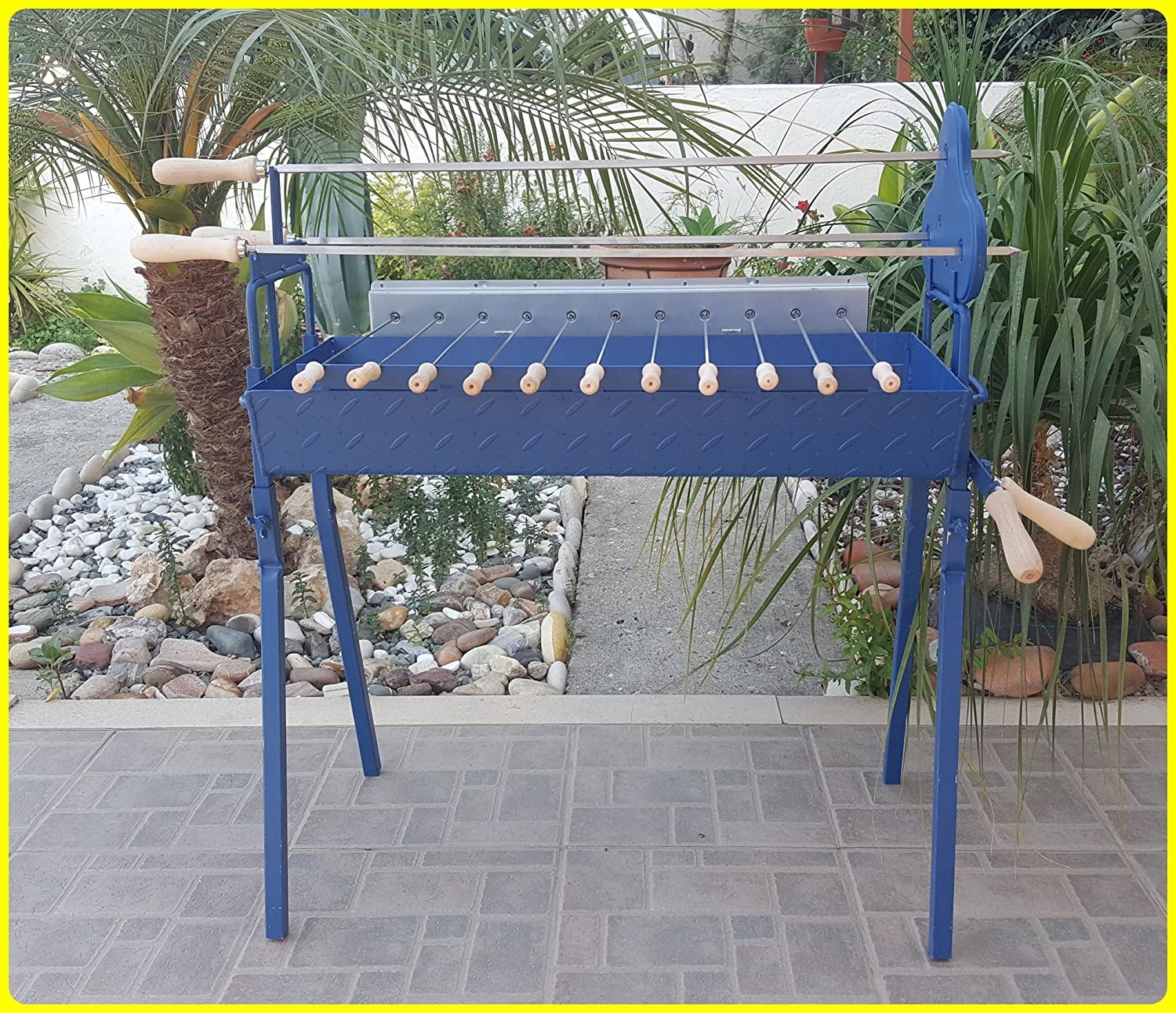 Korakas Foukou Large Foukou BBQ Traditional Greek Cypriot for Charcoal Rotisserie Barbecue Blue Color + Pair of Chicken Hooks + Motor Grill operated by both Battery & AC/DC
