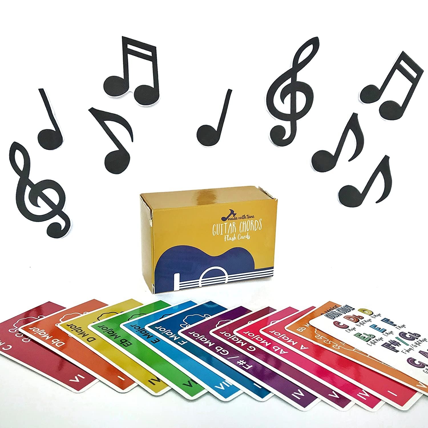 Amazon made with tone guitar chords flash cards a great amazon made with tone guitar chords flash cards a great gift for music lovers and beginner musicians all the major chords and notes for be a hexwebz Images