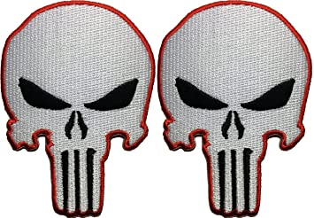 Set 2 Of White Red Skull Sew On Iron Embroidered Applique Patch