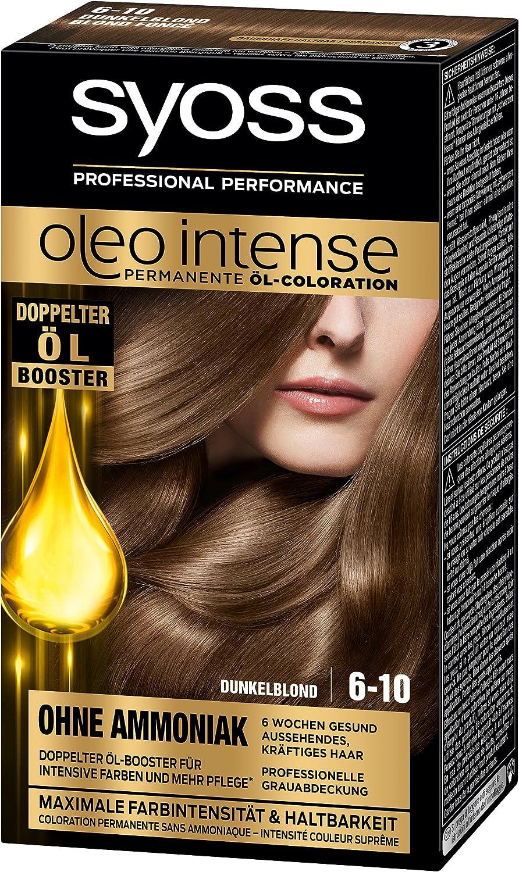 Syoss Oleo Intense Tinte para el cabello, rubio oscuro, 6-10, 3 unidades (3 x 115 ml)